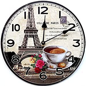 Horloge murale paris coffee cuisine mur home cappuccino 30 cm tinas collection la conception - Relojes para cocina ...