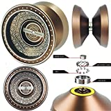 PPEEGOO YOYO Professionnel, Newest Design avec de l'acide d'argent d'alimentation Alliage d'aluminium à Grande Vitesse Professionnel Yoyo Balls, Ball Bearing Trick Yo-yo, Pro yoyo (Marron)