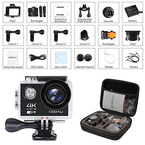 COOAU 4K Action Cam impermeabile, videocamera da WIFI 12MP HD Sport Action Camera Helmet, 170 ° grandangolare, 1050mAh batteria, 20 kit di accessori per moto Moto surf diving Nuoto sci arrampicata