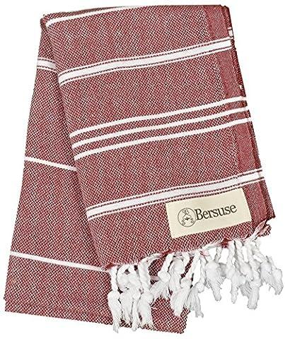 Bersuse 100% Cotton - Anatolia Hand Turkish Towel - Head Hair Face Baby Care Kitchen - Bath Beach Fouta Peshtemal - Classic Striped Pestemal - 22X35 Inches,