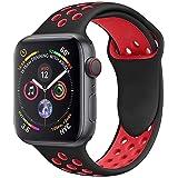 VIKATECH pour Bracelet Apple Watch 42mm(44mm Series 4), Engrener Bracelet Sport Doux in Silicone Remplacement pour Apple Watch Serie 4/3/2/1, Taille M/L, Noir/Rouge