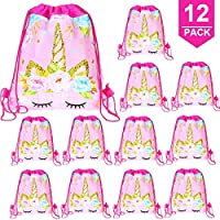 POKONBOY Unicorn Gifts Bag Party Favors, 12 Pack Unicorn Drawstring Bags Unicorn Birthday Party Supplies for Girls Kids
