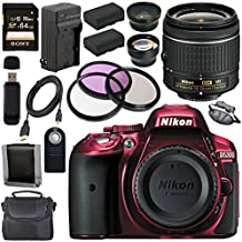 Nikon D5300 DSLR Camera With AF-P 18-55mm VR Lens (Red) + EN-EL14 Replacement Lithium Ion Battery + External Rapid Charger + Sony 64GB SDXC Card + Carrying Case Bundle