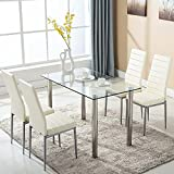Glass Dining Table Set and 4 White Faux Leather Thick Foam Ribbed High Back Dining Chairs with Chromed Legs, Modern Design Space Saving Table and Chairs, 120 x 70 x 75 cm Rectangle Dining Room Furniture Set