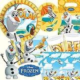 101-teiliges * FROZEN OLAF - DER SCHNEEMANN * PARTY SET für Kindergeburtstag mit 6-8 Kinder: Teller, Becher, Servietten, Einladungen, Partytüten, Tischdecke, Luftballons, Luftschlangen u.v.m. // Geburtstag Party Kinderparty Kinderfest Kinder Fete Disney Prinzessin Princess Die Eiskönigin