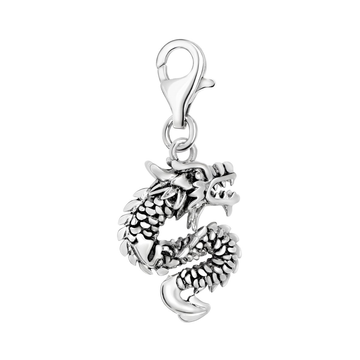 Quiges 925 Sterling Silver 3D Dragon Clip On Lobster Clasp Charm Pendant