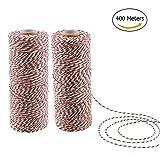 veylin 400Meter Baumwolle Bäcker Ranken rot/weiß/grün Dreilagiges Bindfäden Seil für Weihnachten Geschenk Verpackung, 2mm