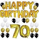 KUNGYO Letras Tipo Balón Doradas HAPPY BIRTHDAY+Número 70 Mylar Foil ...