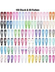 Lynlon 100 STK Haarspangen Mädchen (50 Farben) Haarspangen | Haarclips | Kinder Haarklammern | spangen | Klammern