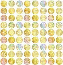 eBoot 72 Diseños Vinilos de Uñas Dorados Set de Hojas de Pegatinas de Plantillas de Uñas para Diseño de Arte de Uñas de Circular Hueca, 24 Hojas, 288 Piezas