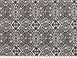 ab 1m: Viskose-Jersey, geometische Motive,weiß-schwarz,