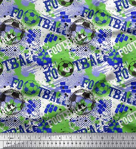 Soimoi Blau Baumwolljersey Stoff Pinselstrich und Fußball Sport Stoff Meterware 58 Zoll breit