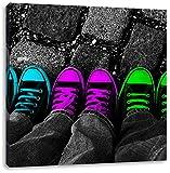 Türkis pink neon grüne Chucks black and white Black Background schwarz/weiß, Format: 60x60 auf Leinwand, XXL riesige Bilder fertig gerahmt mit Keilrahmen, Kunstdruck auf Wandbild mit Rahmen, günstiger als Gemälde oder Ölbild, kein Poster oder Plakat