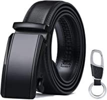 Men's Leather Belt, Automatic Buckle Italian Genuine Leather Ratchet Belt 3.5cm * 130cm (Keychain & Gift Box Include) Black E