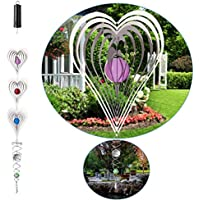 QILICZ 3 Campanas Colgantes de Acero Inoxidable 3D con Cuentas de Cristal + Cristal Twister + Campanas de Viento para Jardín, Sala de Estar, Dormitorio, Balcón