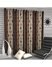 Home Sizzler Floral 4 Piece Eyelet Polyester Door Curtain Set - 7ft