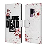Head Case Designs Offizielle AMC The Walking Dead Weiss Logo Brieftasche Handyhülle aus Leder für Samsung Galaxy S9+/S9 Plus