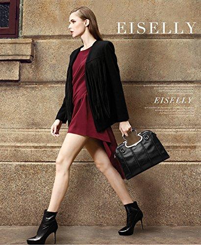 NICOLE&DORIS Donne Moda semplice borsa di Crossbody spalla della borsa Resistente all'acqua Totes morbido PU Rosa Nero