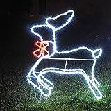 Reno luminoso 3D, 216 LED, h. 80 cm, de exterior, decoración de Navidad, luces navideñas, objeto luminoso