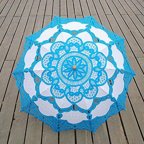 bpblgf Dentelle Parapluie Artisanat Dentelle Coton Broderie Photographie Mariage Parapluie Double Bleu, a, 68 * 48