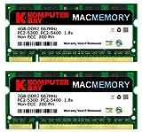 Komputerbay - Kit MACMEMORY 6GB (moduli da 4GB/2GB) PC2-5300 667MHz DDR2 SODIMM per Apple MacBook Pro inizi 2008 2.1GHz/2.4GHz/2.5GHz/2.6GHz