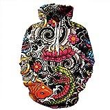 Unisex-Paare Lotus Koi Kapuzenpulli 3D gedrucktes Sweat Shirt Langarm Hoodie Taschen Top