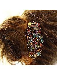 vulna £ ¨ TM £ © 1pcs New Fashion Ladies Vintage Colorful Rhinestone pavo real pasador para pelo, diseño de lazo