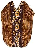 LA LEELA 5 in 1 leichte 100% Baumwolle Hand Batik Tunika Abend casual dress Bikini Kimono Badebekleidung Jahrgang verschleiern Lounge Bademode plus kurze gemütliche Nacht Kaftan braun