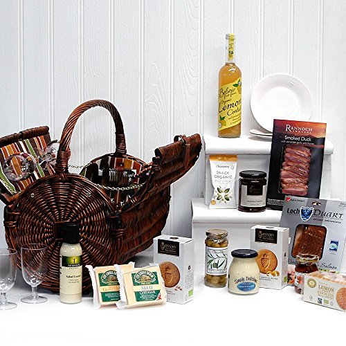 Cantley Luxury 4 Person Fitted Barrel Design Picnic Hamper Basket with an Organic Gourmet Food Selection (Includes 14 Items) - Gift ideas for Birthday, Wedding and Corporate