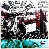 RELOJ DE PARED DISENO LONDRES TOWER BRIDGE ANTIGUO RELOJ DE COCINA DECORACION CUADRADO NOSTALGIA - Tinas Collection