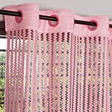 #10: Story@Home Fancy Sparkling Door Window Set of 2 Sheer Strip Premium Polyester String Beads Hanging Net Curtain - 7ft, Baby Pink