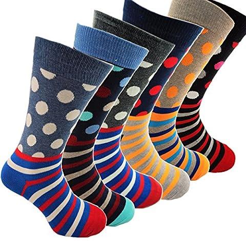 In2socks - Premium Happy Business Socks Hommes - à pois- Coloré - Taille 40 à 45 - Chaussettes Heureuses pour Hommes (Mega Value Pack - 6 Paires)