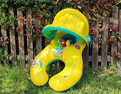 Kinder Sonnenschirm Glocken Schwimmring Umweltschutz Mutter und Kind Tongle Eltern-Kind-Schwimmring@Mutter-Kind-Ring mit gelbem Gürtel -