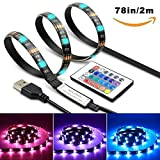#5: SGM LED TV Backlight Desktop Light Strip USB (2 meter/78 inch) Lighting Kit with 24keys Remote Control (Red)