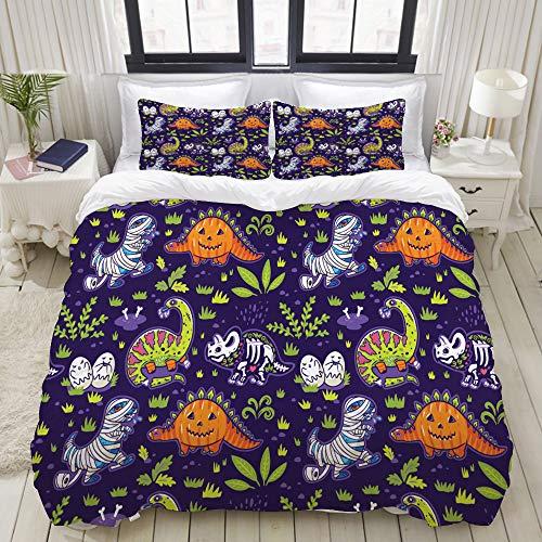 Mokale Bedding Bedrucktes Bettbezug-Sets,Happy Halloween lustige Cartoon Dinosaurier Kostüme,Mikrofaser Kinder Student Schlafsaal Bettwäsche Set (1 Bettbezug + 2 Kissenbezüge) (Halloween Biber Kostüm)