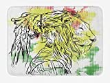 Rasta Bath Mat, Black and White Sketchy Head of Lion on Digital Pixels Backdrop Image, Plush Bathroom Decor Mat with Non Slip Backing, 23.6 W X 15.7 W Inches, Green Burgundy and Yellow