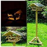 (953) Vogelhaus Vogelfutterhaus mit Ständer & Led Solarbeleuchtung Holzvogelhaus