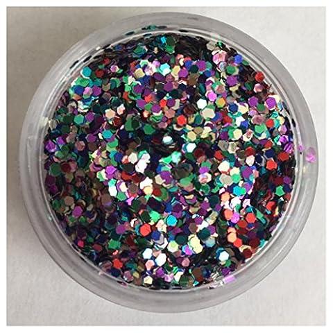 Rainbow Chunky Glitter Lidschatten + Fixier Gel + Applikator, Rainbow Pot (Weihnachten Acryl Nail Art)