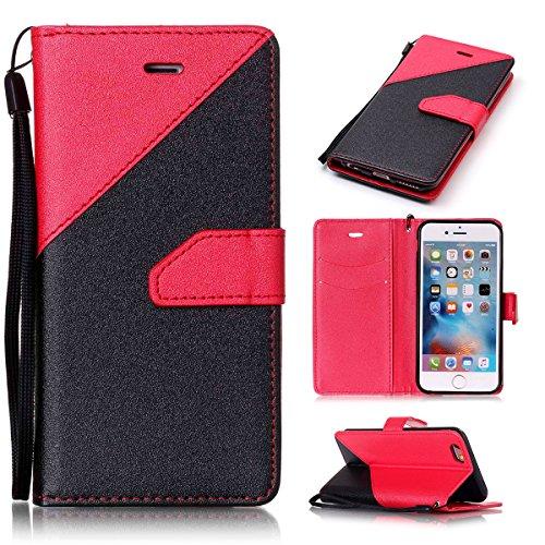 iPhone 6/iPhone 6S 4.7inch Case, Case First due colori design PU pelle portafoglio Case Cover Flip Cover con Cinturino da Polso e Card Slot per iPhone 6/iPhone 6S 4.7inch Rot + Schwarz