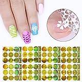 coulorbuttons hueca de oro de 24hojas tóner holográfica uñas Vinilos Pegatinas Manicura Nail Art 3d Stickers