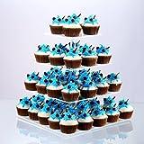 Cupcake Stand, Clear Acrilico Partito Stoviglie Piazza Cake Stand Centrotavola per Festa Nuziale Baby Shower Compleanno (4 Livelli)