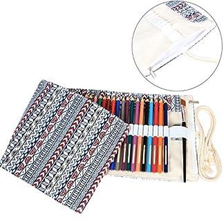 Damero de la lona del abrigo de lápiz de 48 Lápiz de color, rollo de la caja de la pluma, del lápiz Travel (sin lápiz incluido)
