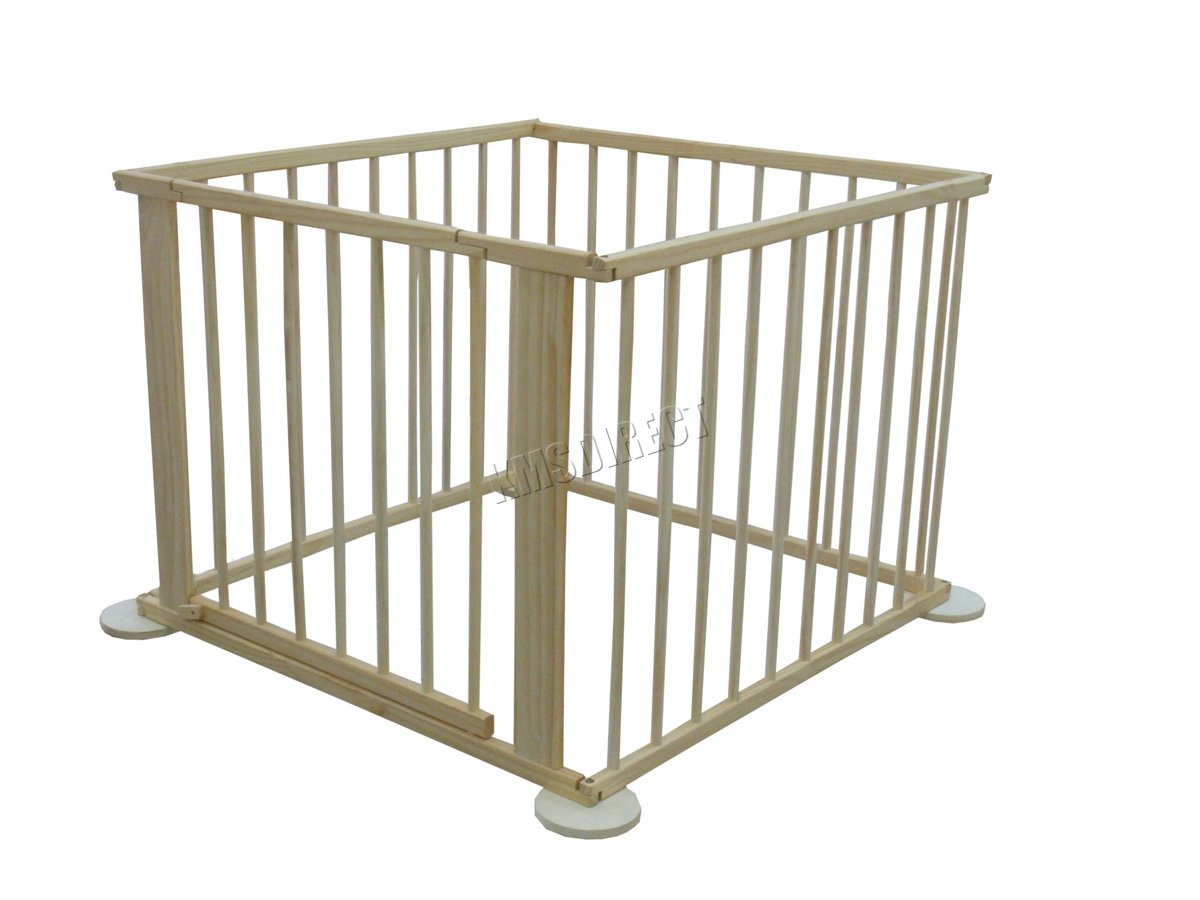 WestWood Portable Baby Child Children Foldable Playpen Play Pen Room Divider Wood Wooden 4 Side Panel Heavy Duty New WestWood High quality baby play pen with door; Can be used as a room divider (all brackets and screws provided); Feet have a rubber base to prevent scratched floors; 5