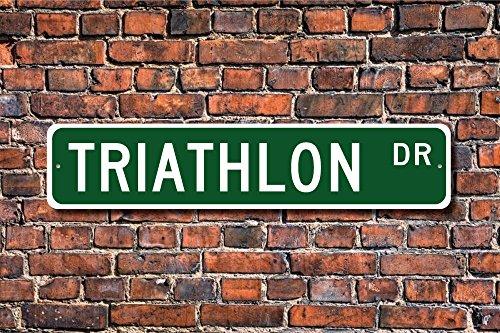 Aersing Funny Metall Schilder Triathlon Schild Triathlon Fan Teilnehmer Triathlon Geschenk Triathlet Decor Garage Home Yard Zaun Auffahrt Street Decor