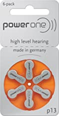 Power One Hearing Aid Battery Size 13, 6 Pcs