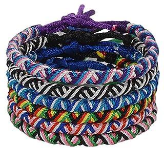 CheersLife Handmade Braided Friendship Bracelet 6Pcs for Men Women Colorful Woven Wrist Anklets Adjustable