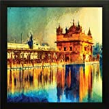 Printelligent Golden Temple Wall Painting Frame Wall Art Painting Wall Decor Painting For Home , Room , Bedroom Decor Frame Size (12 Inch X 12 Inch, (Synthetic, 30 Cm X 3 Cm X 30 Cm, Special Effect Textured) (10)