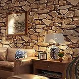 3D Light Braun Rock Tapete Holzmaserung Wohnzimmer Hintergrund Wallcoverings Home DECTOR 52,8x 1.000cm