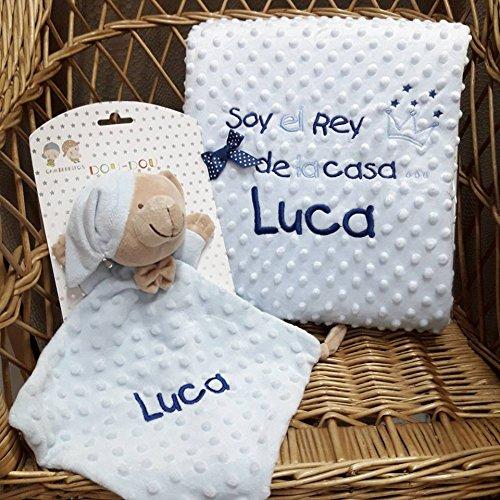 Manta Infantil + Doudou Personalizados Gamberritos con nombre Bordado de BORDADOS LOYMAR