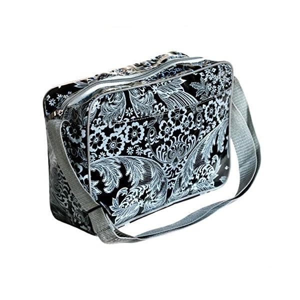Small Shoulder Bag Messenger Bag Handbag for women and girls with vintage pattern crossbody waterproof Eden black - handmade-bags